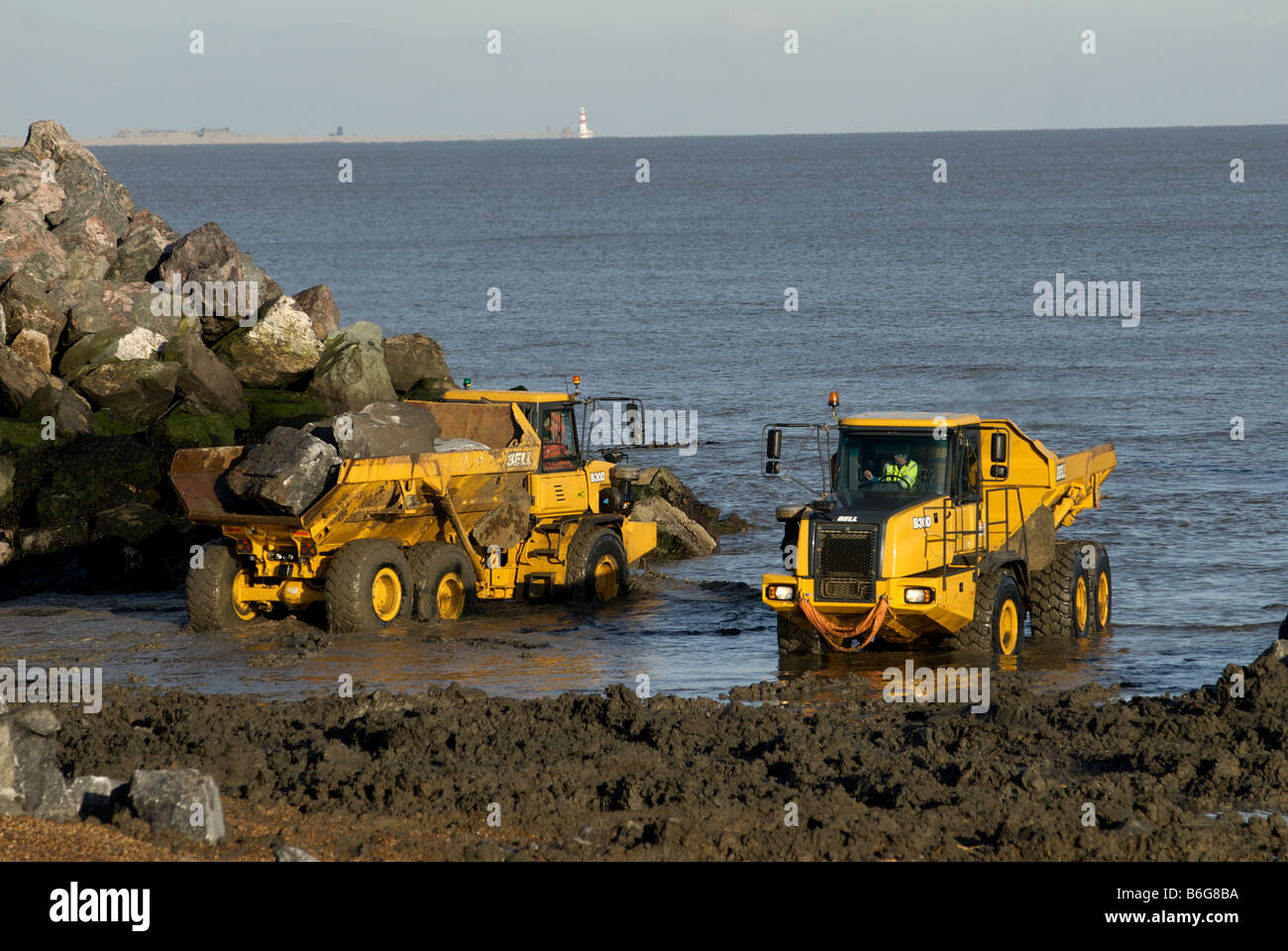 Work being undertaken on a £2.2m sea defence project, East Lane, Bawdsey, Suffolk, UK. - Stock Image