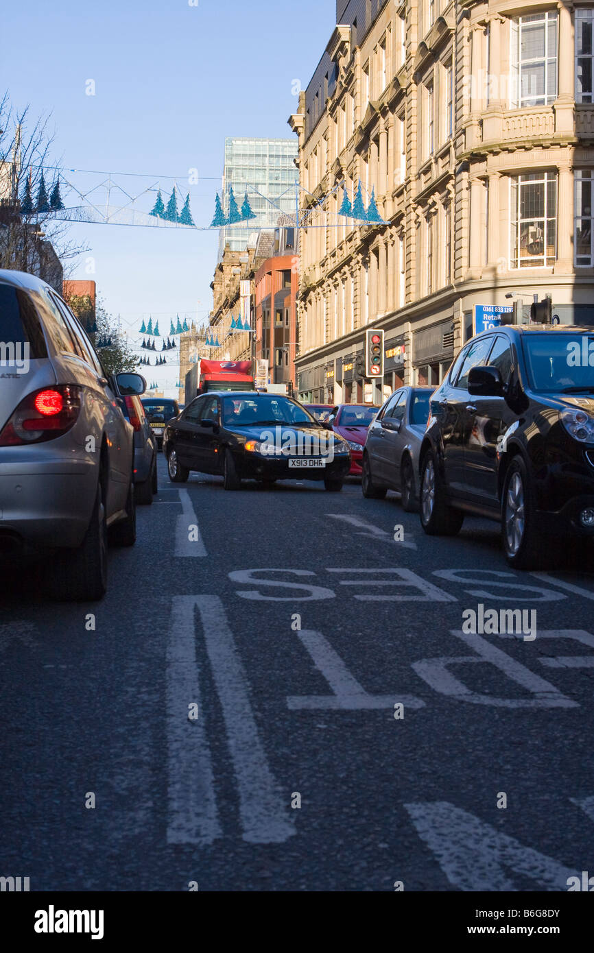 Traffic congestion on Deansgate Manchester - Stock Image