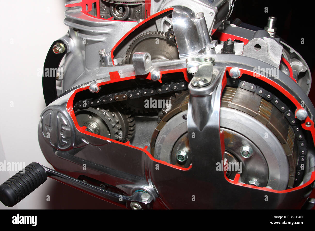 cut away view of clutch; gearbox and change arm on modern motorcycle