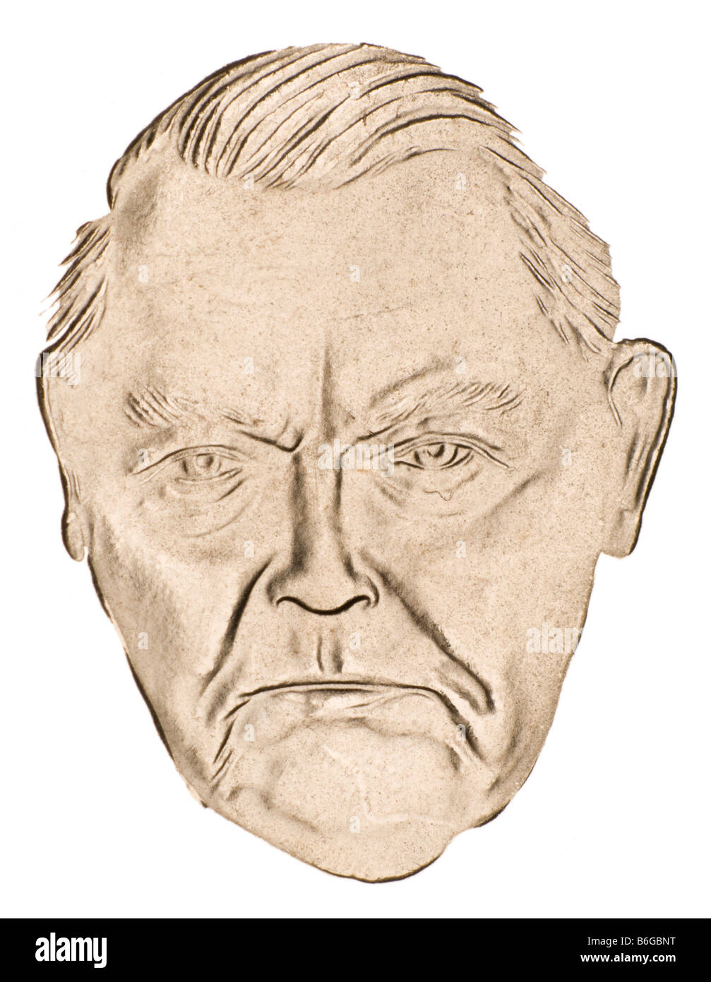 Cutout portrait of A Ludwig Erhard (German Chancellor, 1963-66) from German 2M coin of 1997 - Stock Image