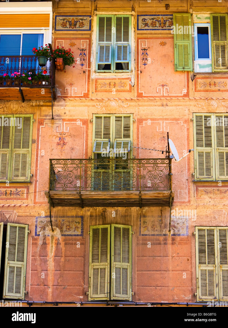 South of France - Decorated apartments and balcony in St Sauveur sur Tinee, Provence, France, South of France - Stock Image