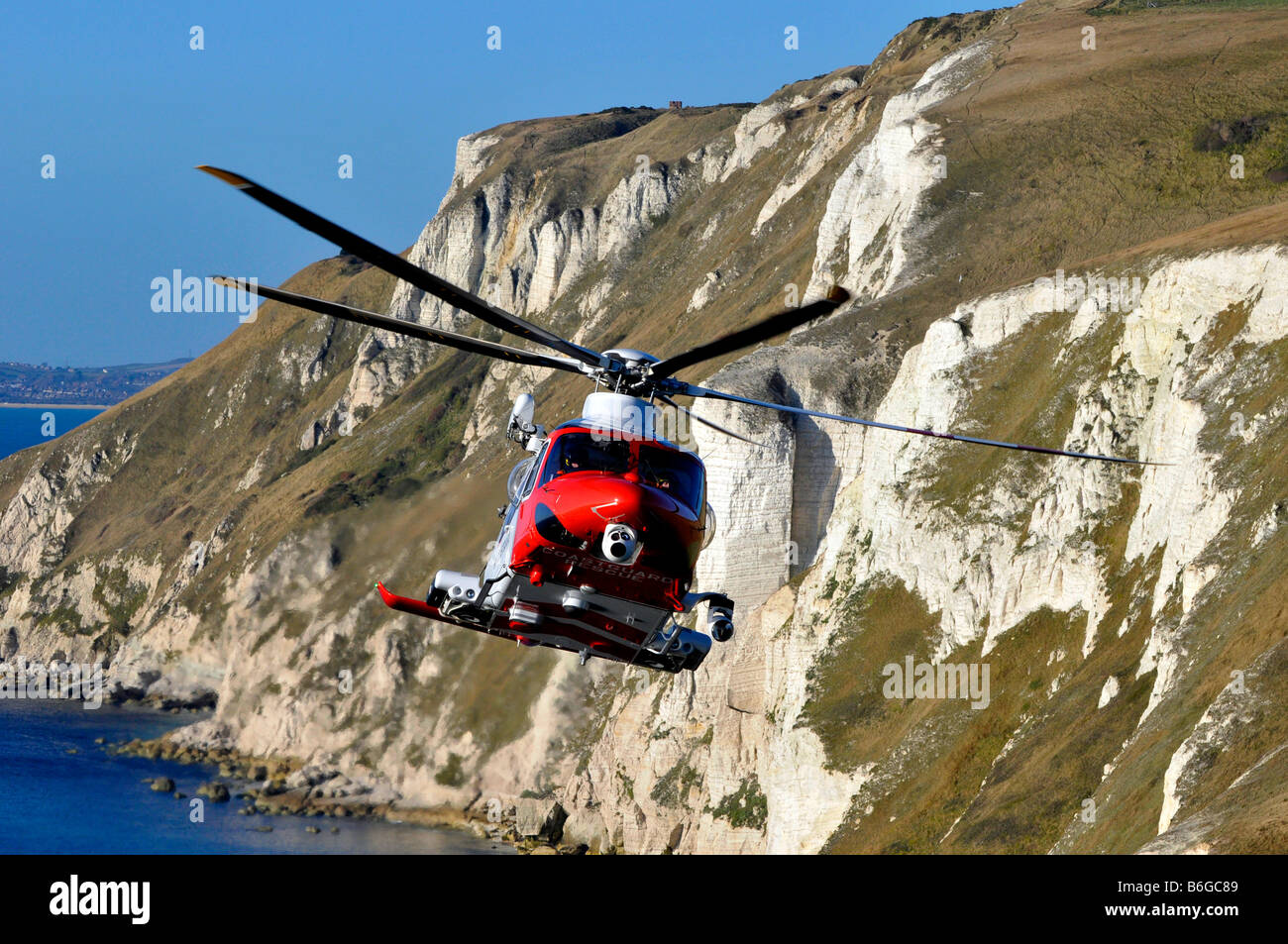Augusta Westland AW139 search and rescue helicopter as operated by the MCA the British Maritime and Coastguard Agency - Stock Image