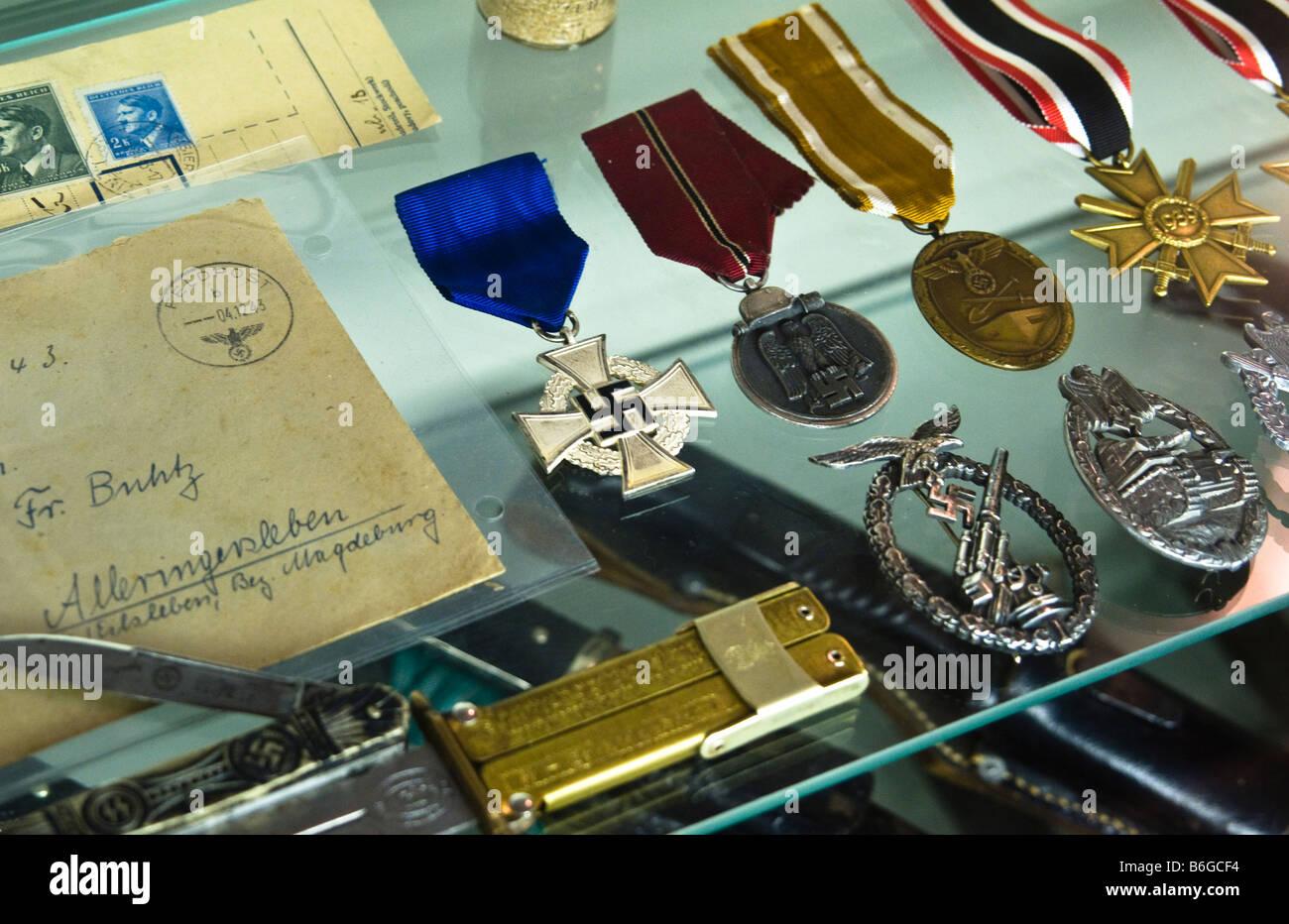 Collectors display case of Nazi war memorabilia. - Stock Image