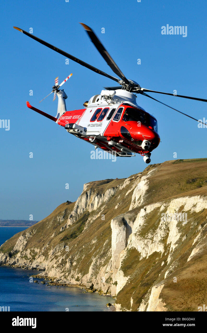 Augusta Westland AW139 Search and Rescue Coastguard Helicopter, Portland, Dorset, Britain, UK - Stock Image