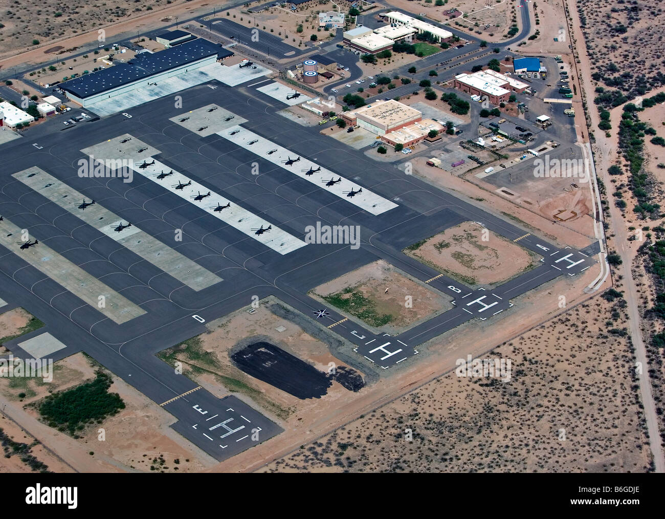 aerial view above Western Army National Guard Aviation Training Site (WAATS) Silverbell Army Heliport Pinal Air - Stock Image