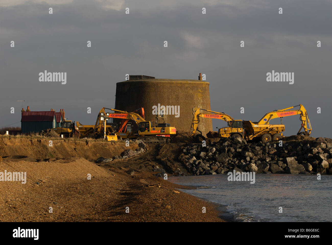 Work being undertaken on a £2.2m sea defence project to protect a Martello Tower and houses, East Lane, Bawdsey, - Stock Image