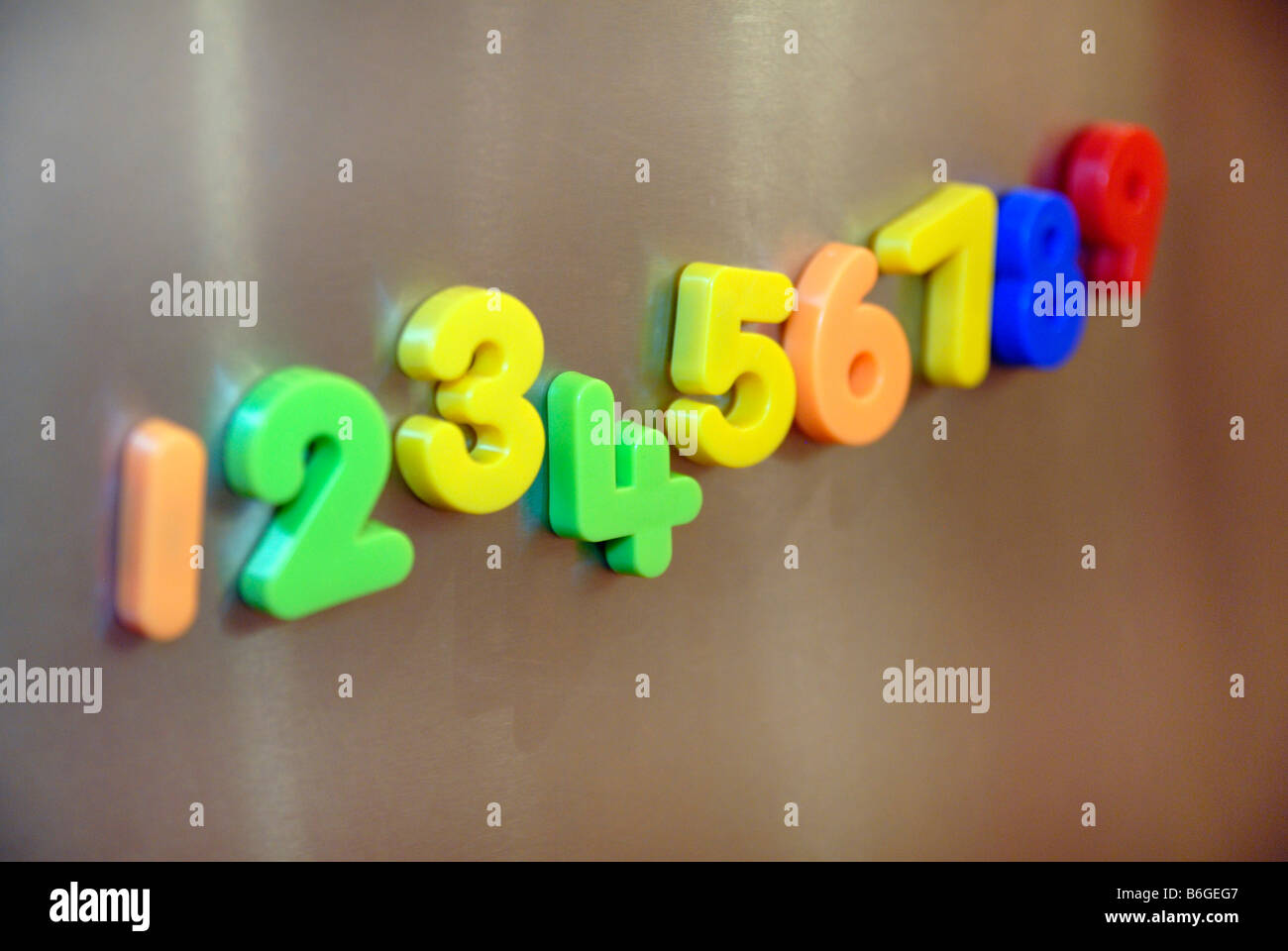 Magnetic numbers on a fridge door - Stock Image