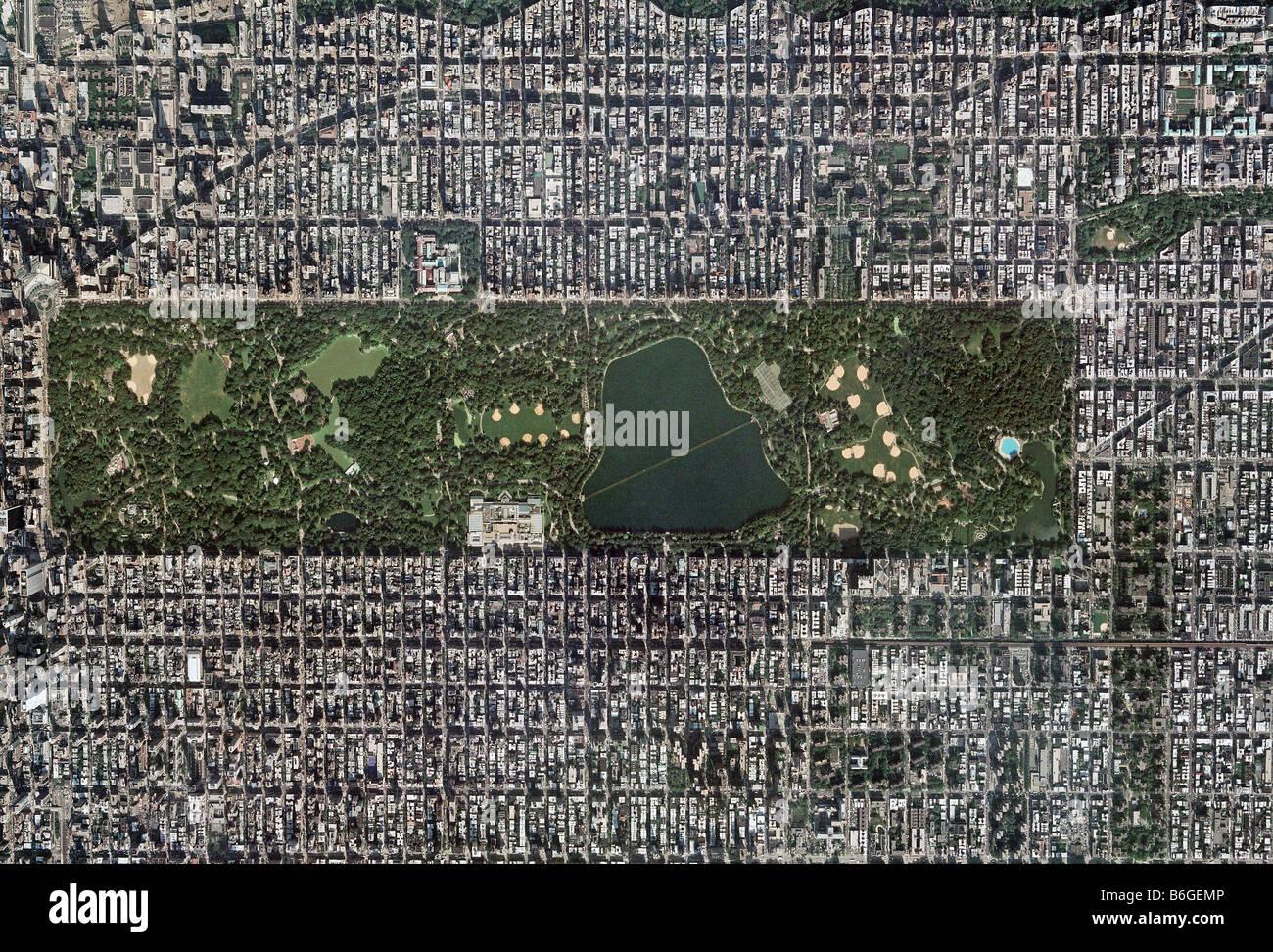 aerial map above Central Park New York City Stock Photo: 21261094