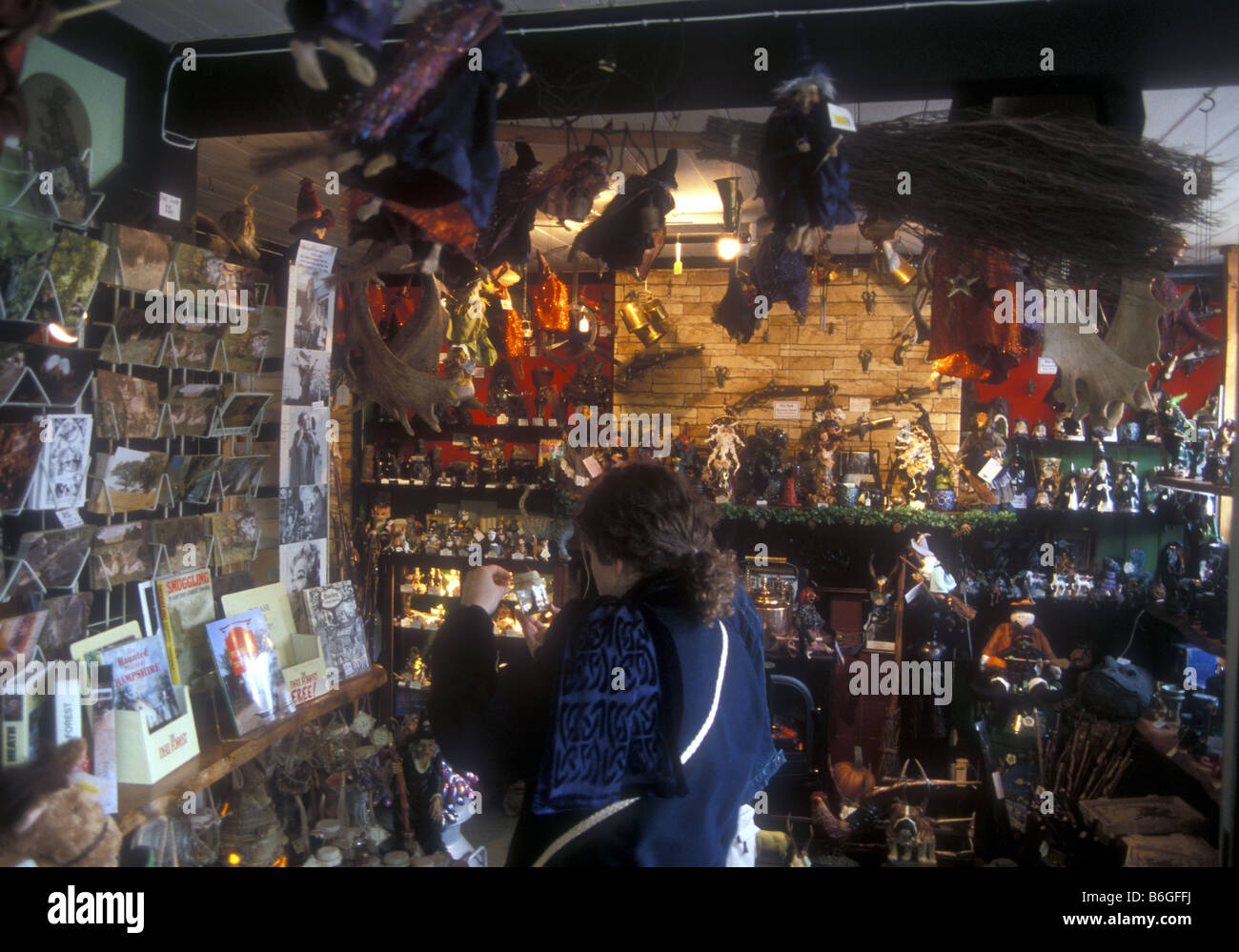 A shop selling witchcraft memorabilia Burley in the New Forest UK - Stock Image