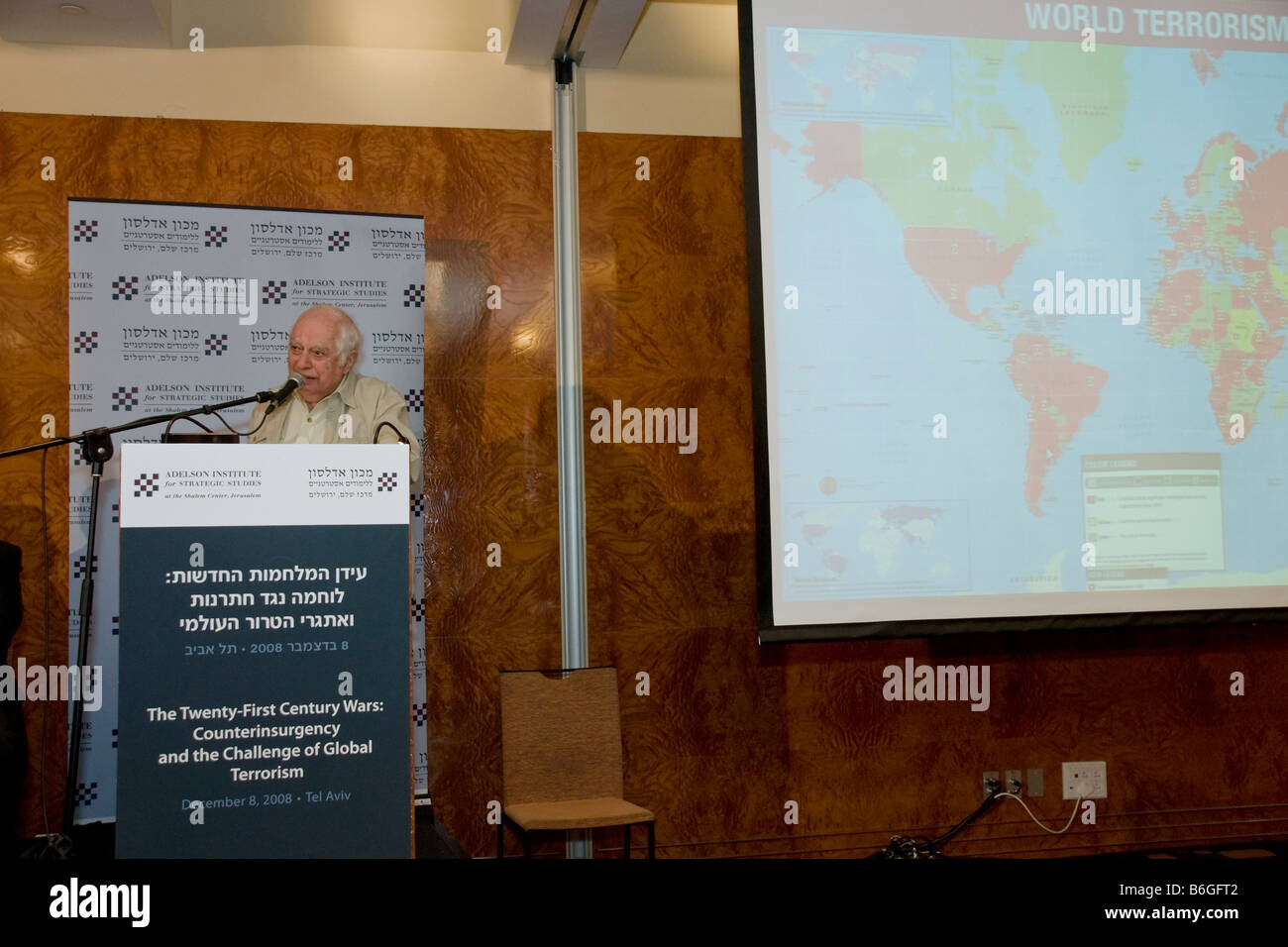 Prof. Bernard Lewis at the Adelson Institute's Dec. 2008 conference. A map of world Terrorism can be seen to the Stock Photo