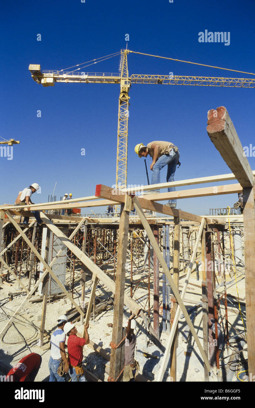 Construction, high rise crane at building site, Miami - Stock Image