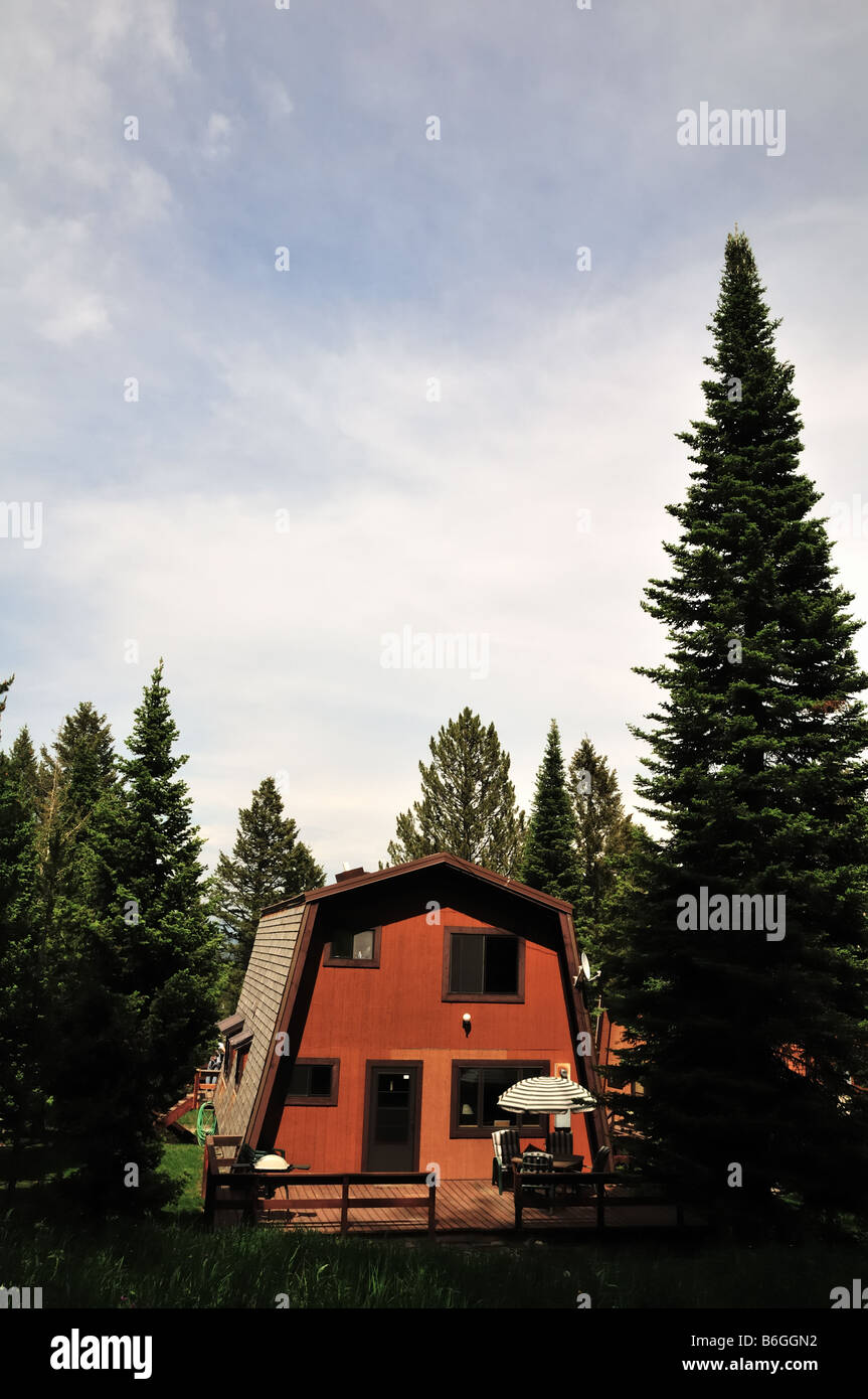 A rustic mountain retreat in Montana - Stock Image
