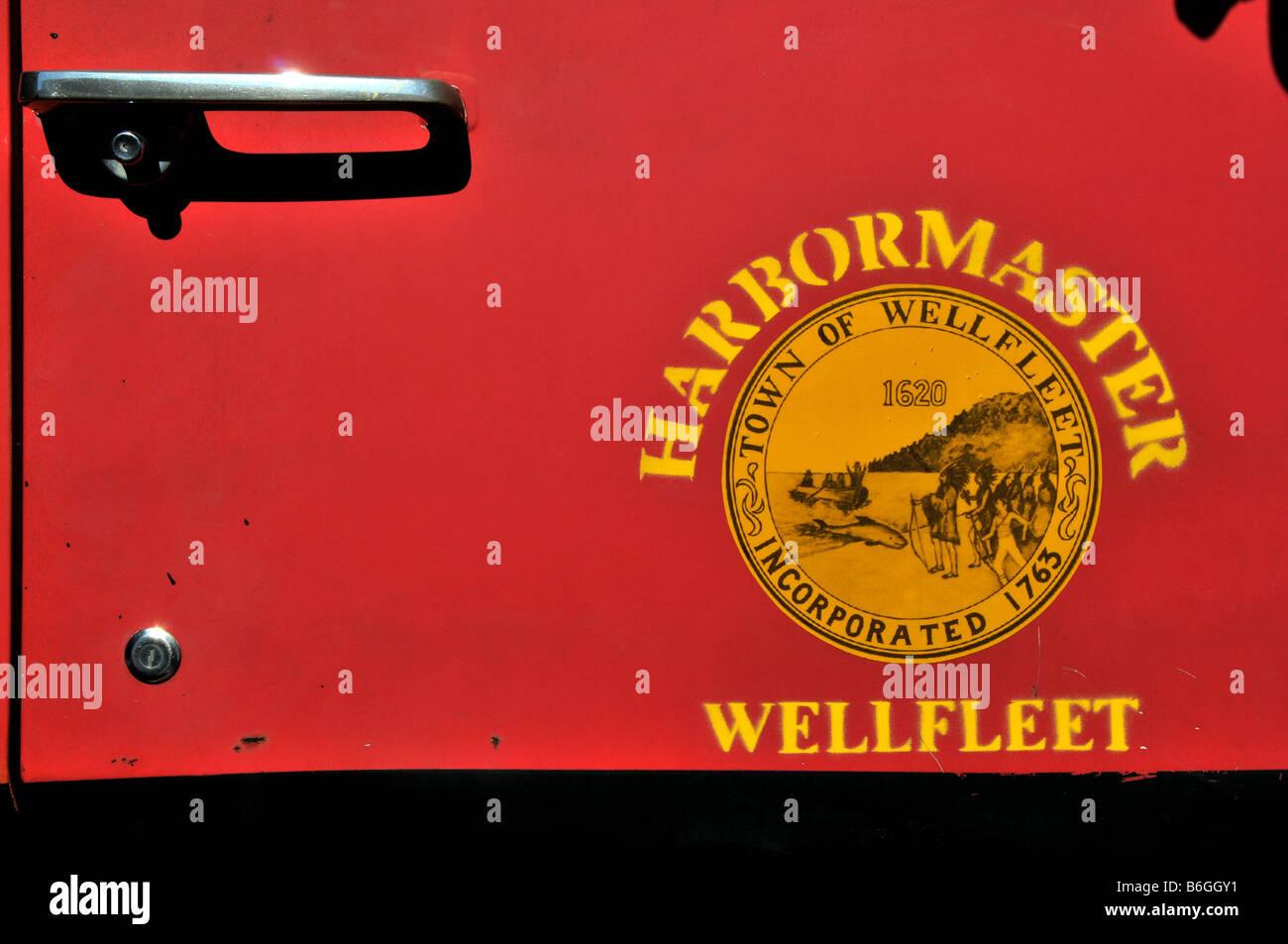 Harbormaster vehicle, Wellfleet, Cape Cod, USA - Stock Image