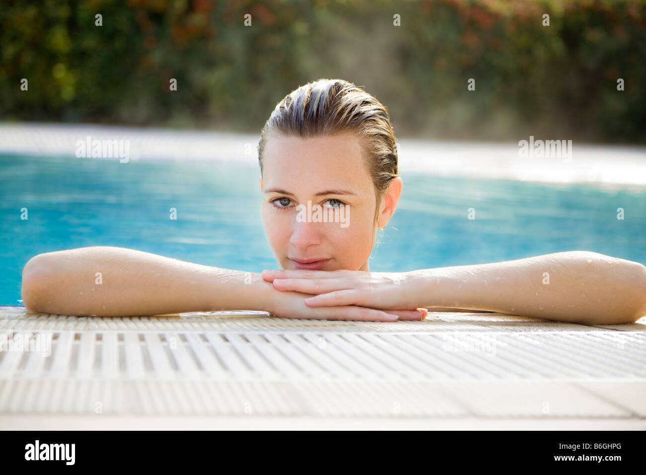 Portrait of young woman in spa front view Stock Photo