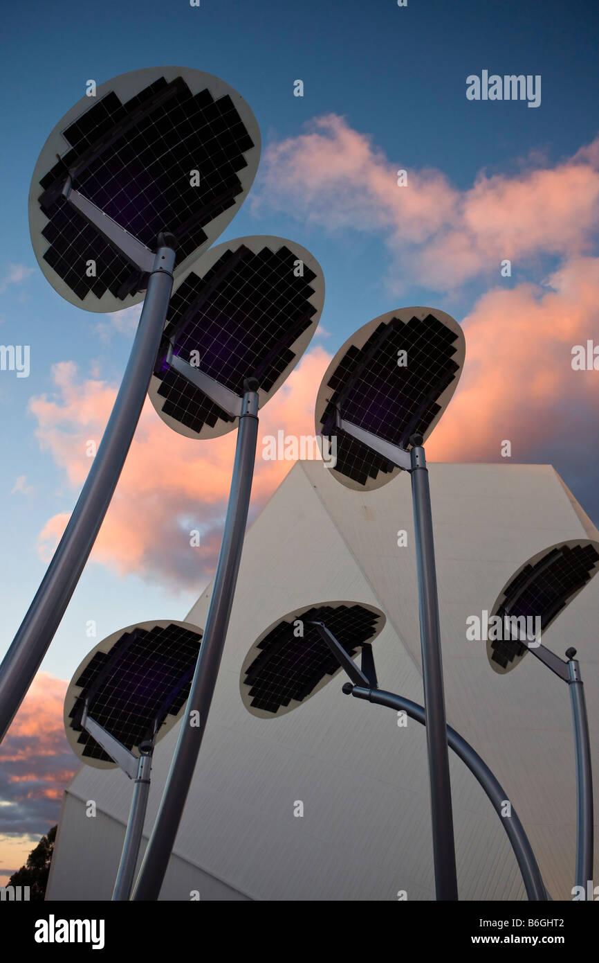 Solar panels designed to look like mallee trees, Adelaide Festival Center, Adelaide, South Australia, Australia - Stock Image