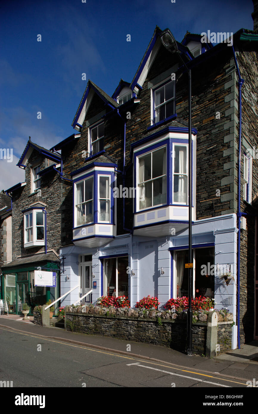 Ambleside 19th century town Milnthorpe Rd typical buildings Lake District Cumbria UK - Stock Image