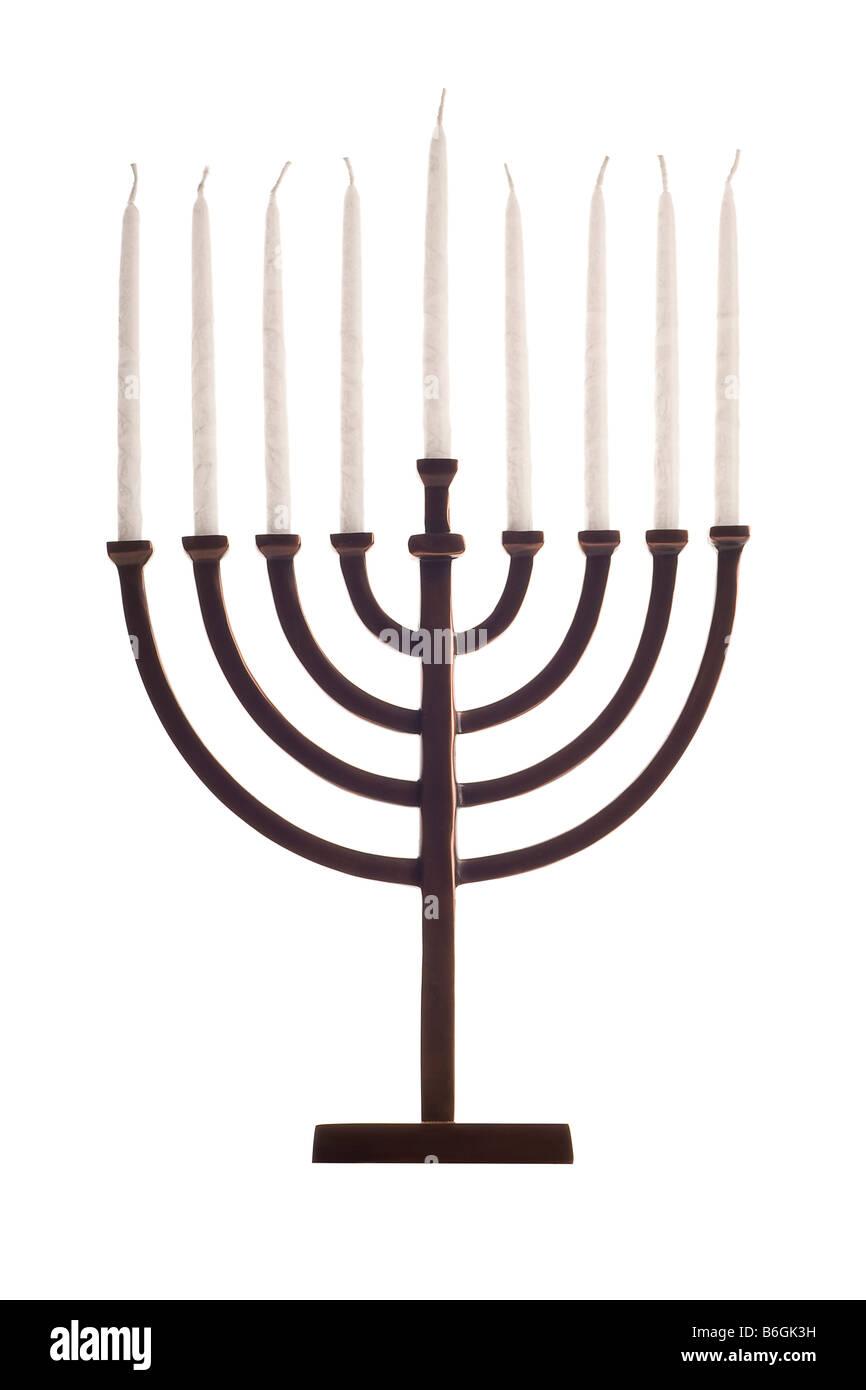 Beautiful unlit hanukkah menorah isolated on white - Stock Image
