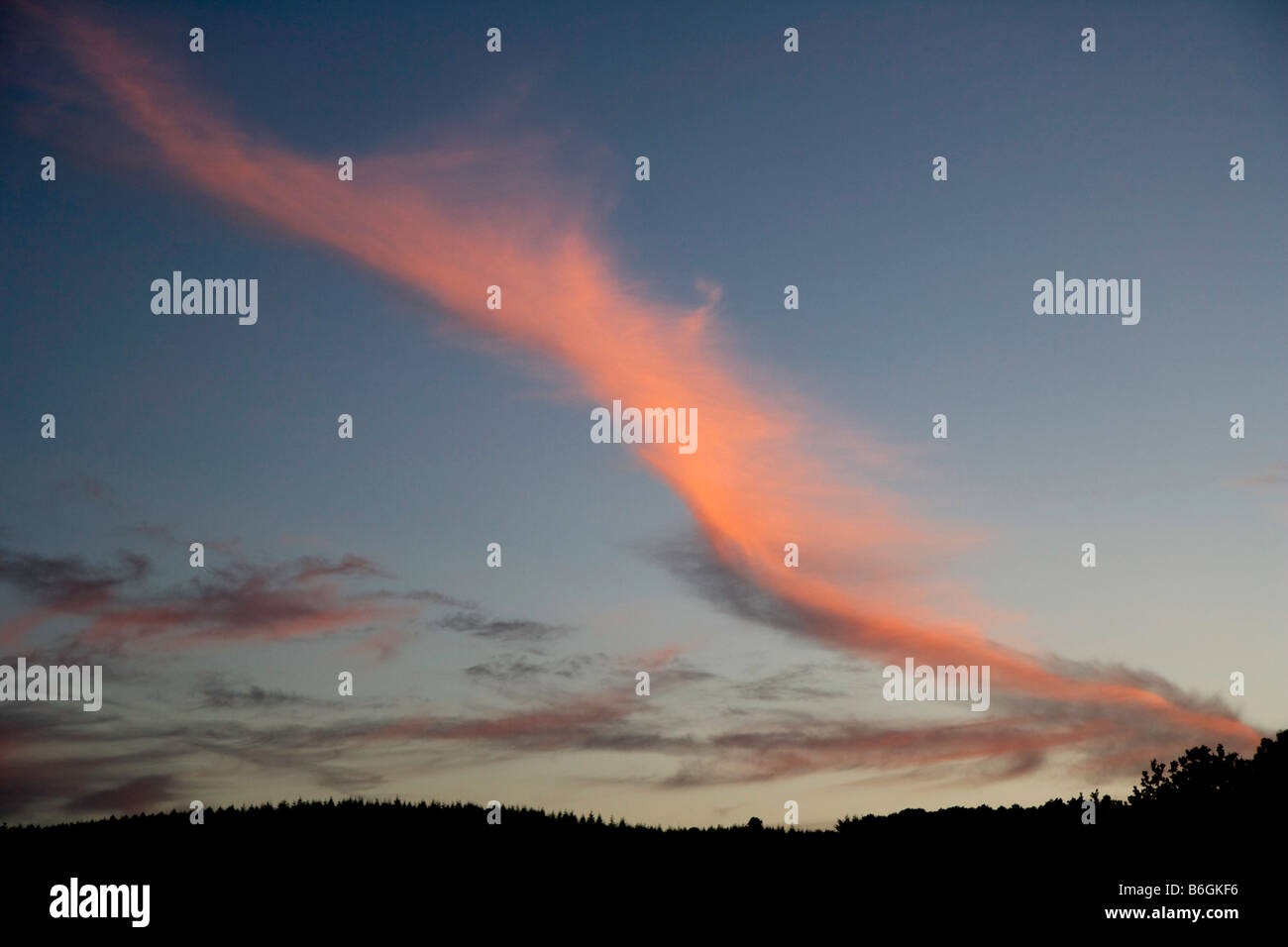 JET CONTRAIL AND HIGH CLOUD AT SUNSET UK - Stock Image