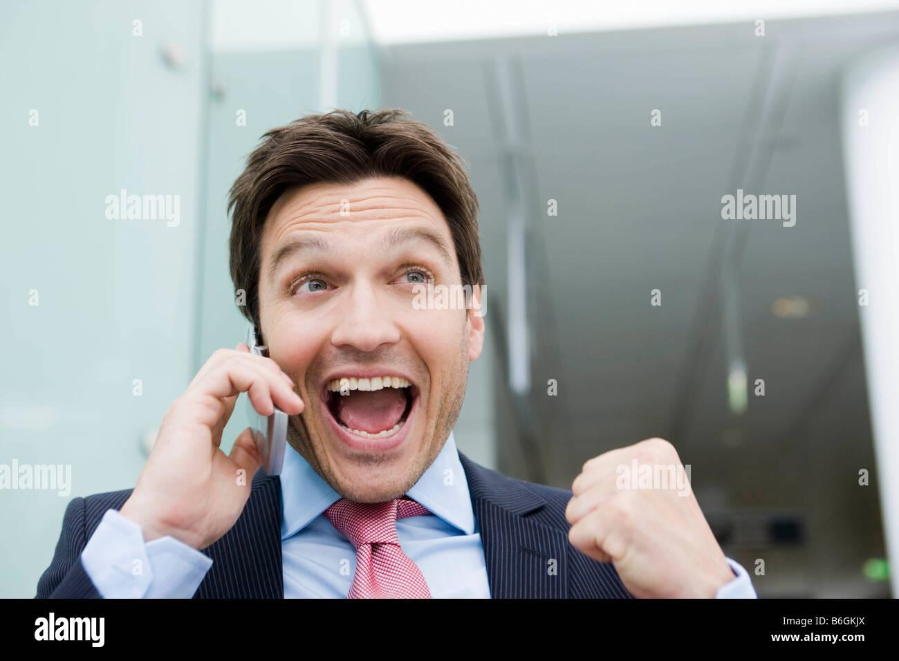 Man bursting of happiness - Stock Image