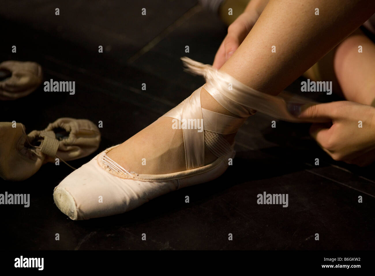 A ballerina from the English National Ballet company back stage of Sleeping Beauty production - Stock Image