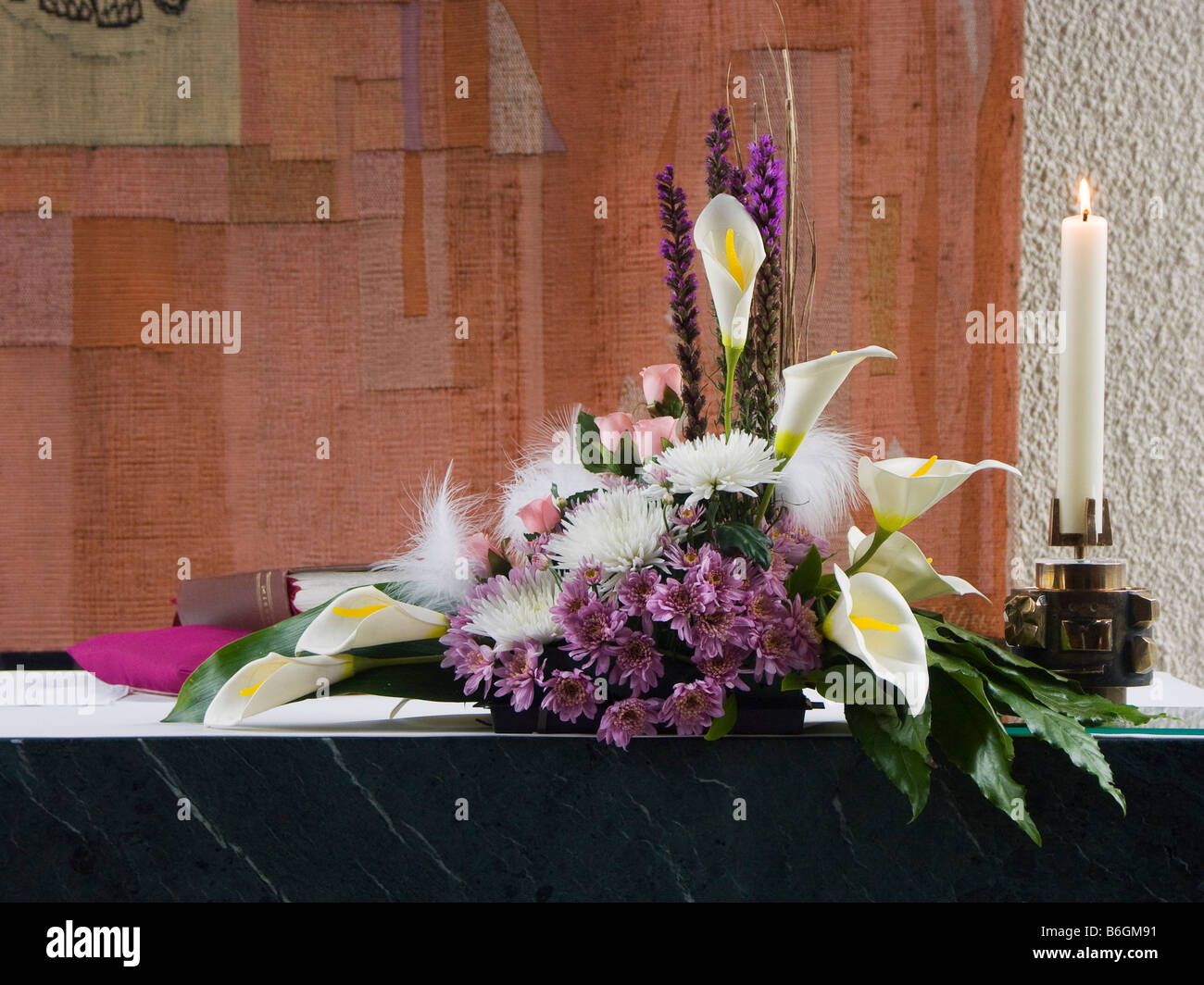 Altar Flowers And Candle On A Modern Church Altar Stock Photo Alamy