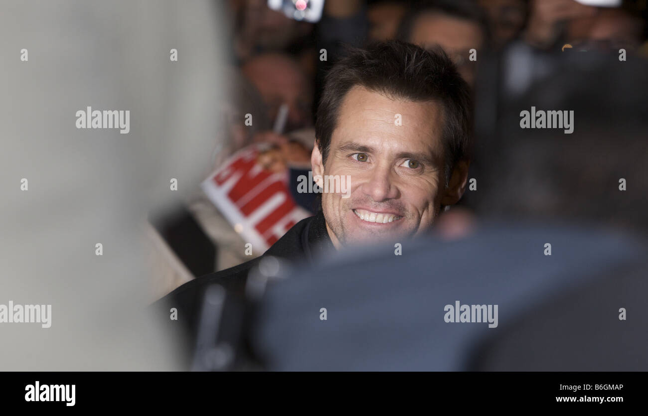 Jim Carrey attending the Premier of the Yes man Vue Cinema Leicester Square London - Stock Image