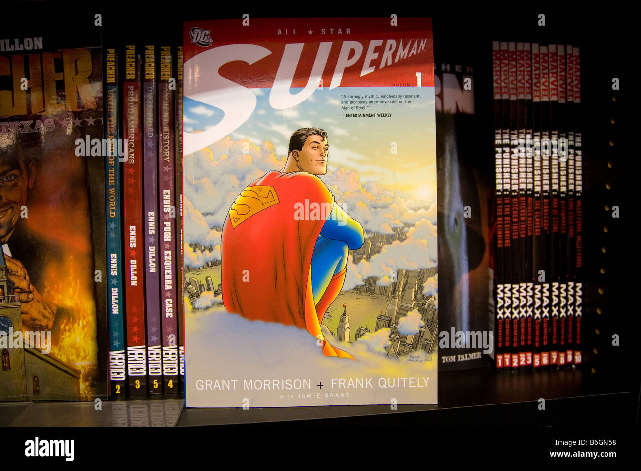 A dc superman comic book on the shelf of the Gosh comic store in London - Stock Image