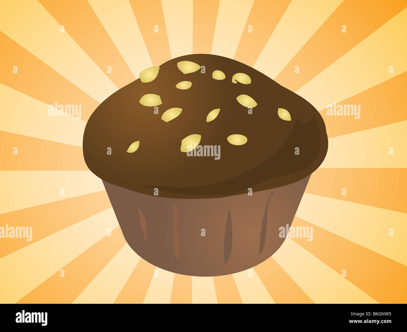Fancy decorated cupcake muffin illustration clip art - Stock Image