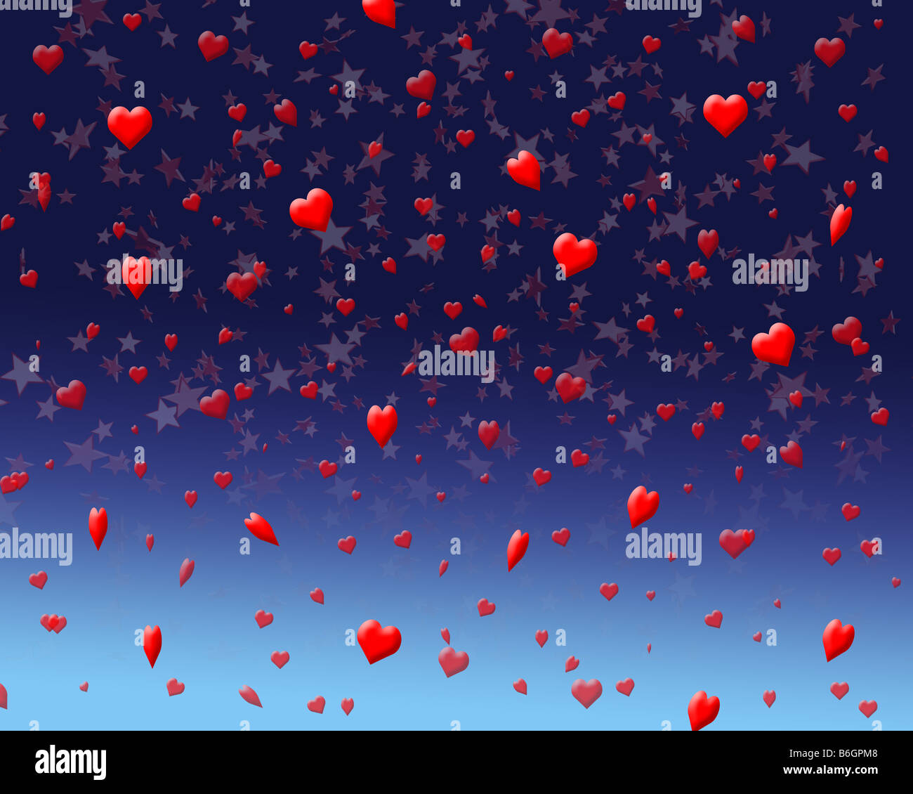 Illustration of a night time celebration with heart and star confetti - Stock Image