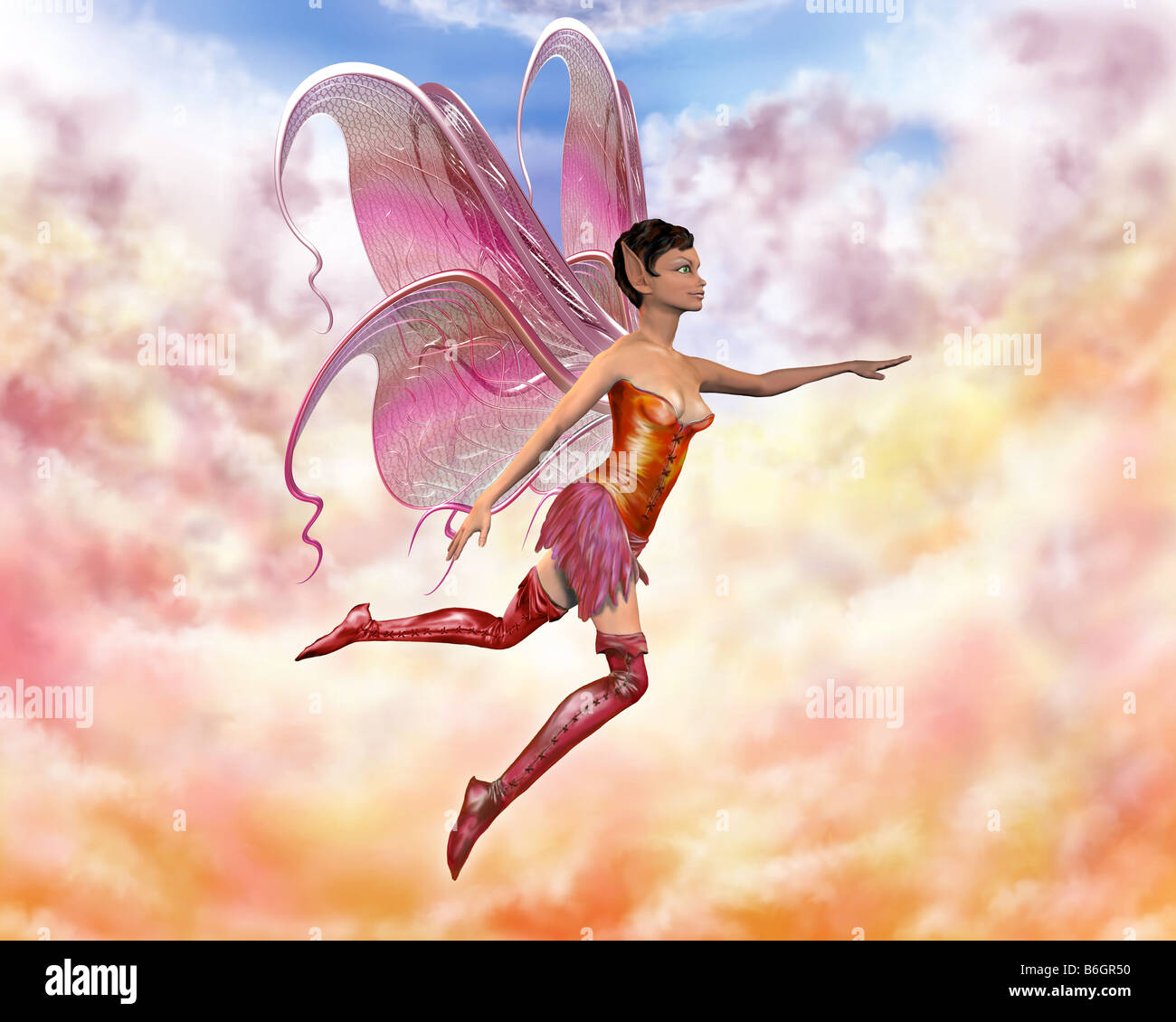 Illustration of a fairy flying through the pastel clouds - Stock Image
