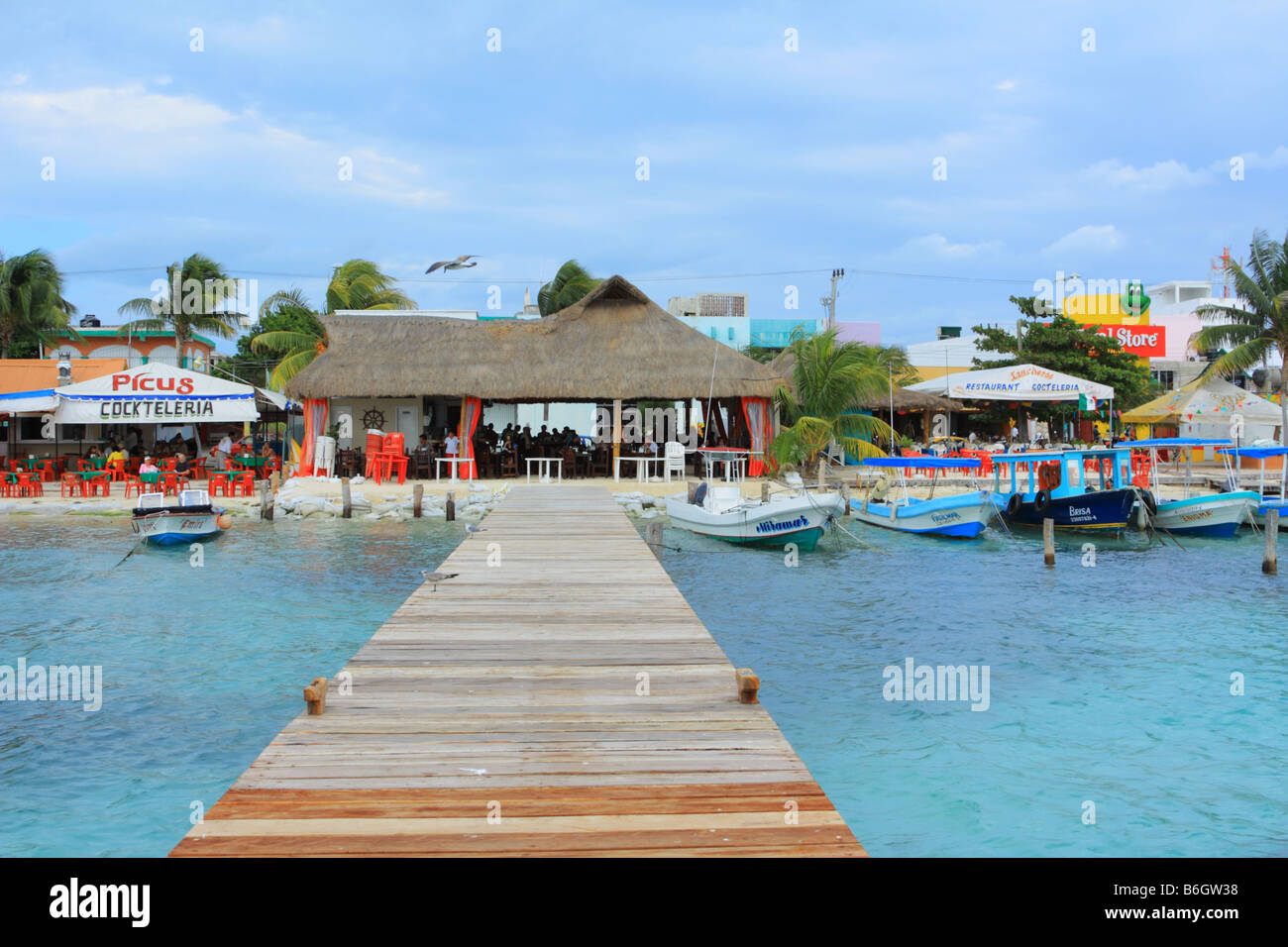 Restaurants And Boats Along Waterfront On Isla Mujeres