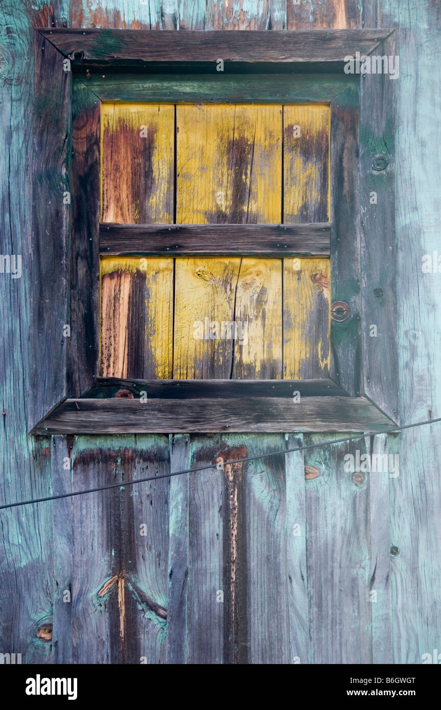 Detail of a worn out wooden house. - Stock Image