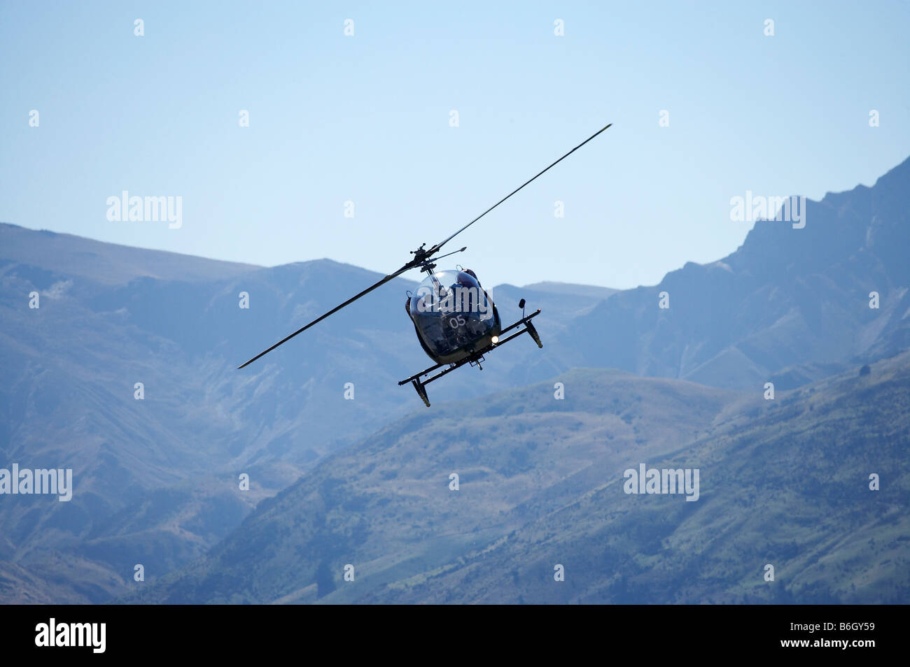 Vintage Bell 47 Helicopter Warbirds over Wanaka Airshow Wanaka South Island New Zealand - Stock Image