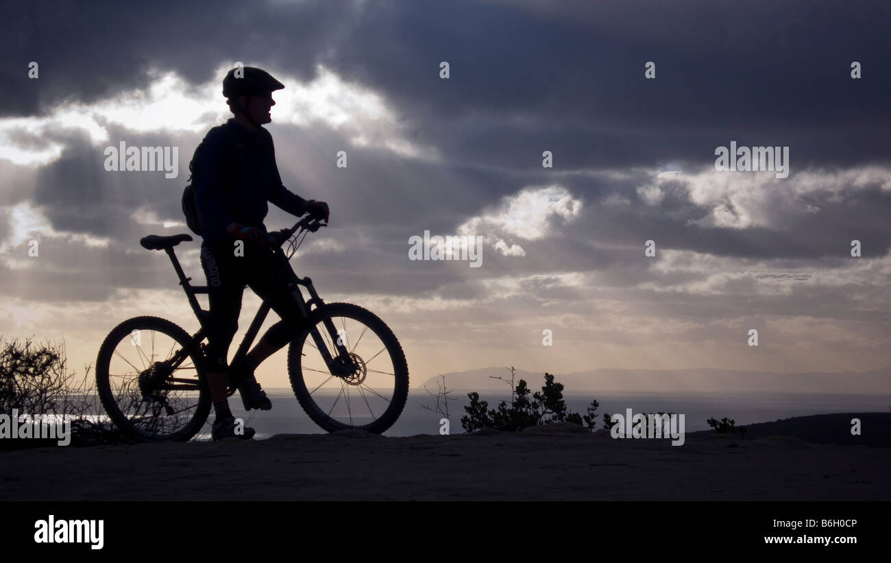 mountain bike sunset Laguna Beach California Stock Photo