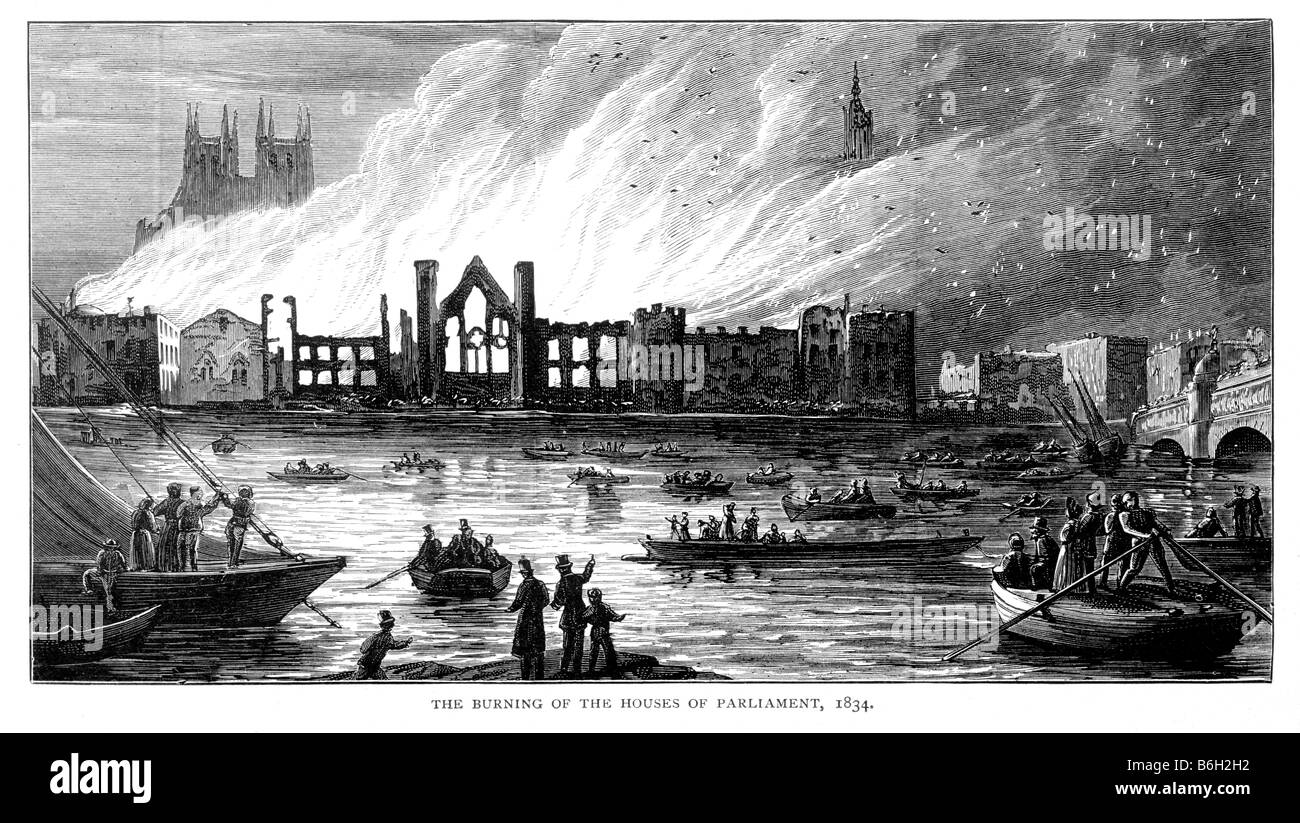 The Burning of The Old Houses of Parliament 1834 19th Century Illustration - Stock Image
