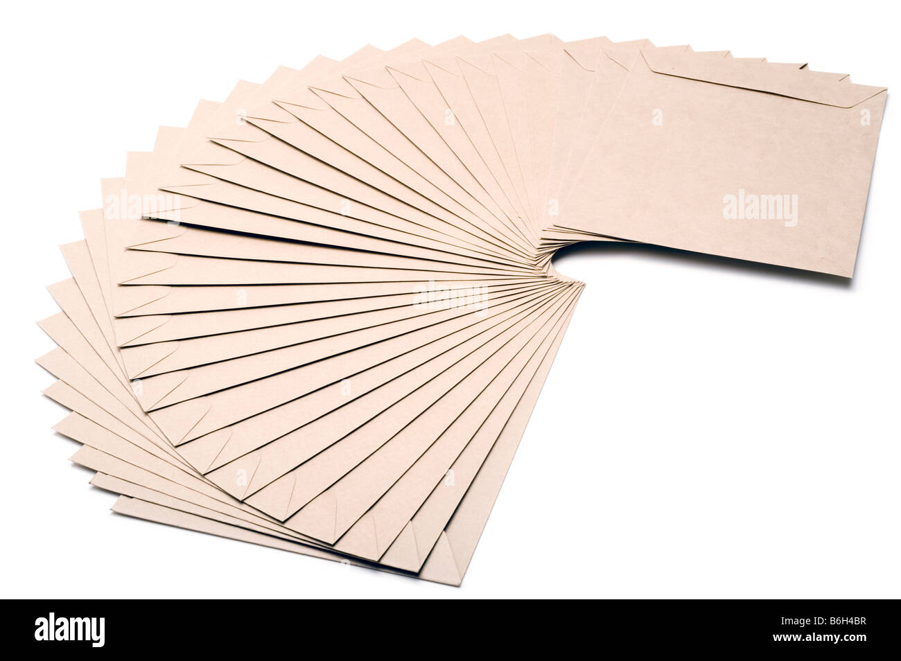 Stack of brown A5 envelopes - Stock Image