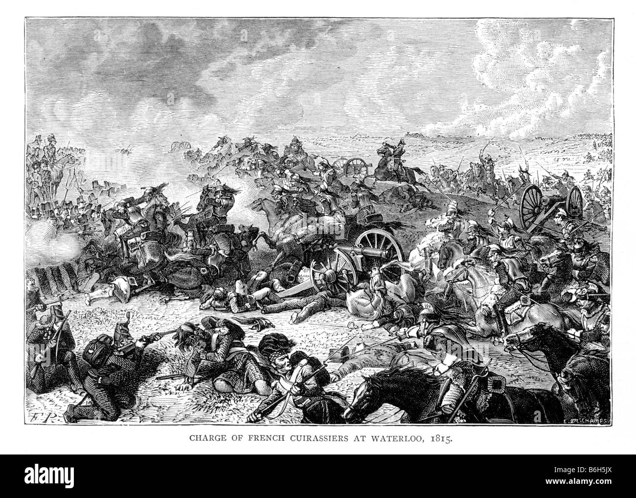 Charge of the French Cuirassiers at the Battle of Waterloo 1815 19th Century Illustration - Stock Image
