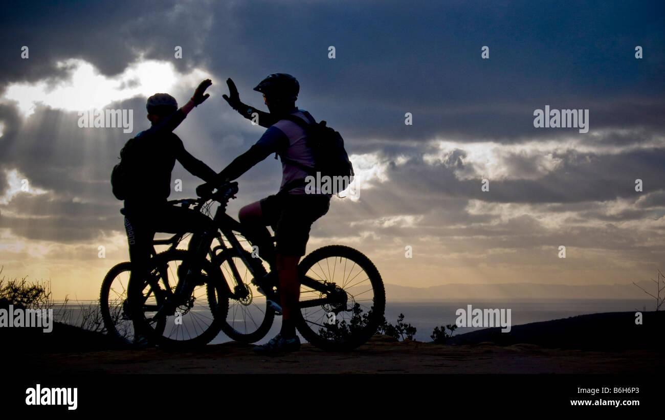 mountain bike sunset Laguna Beach California Stock Photo