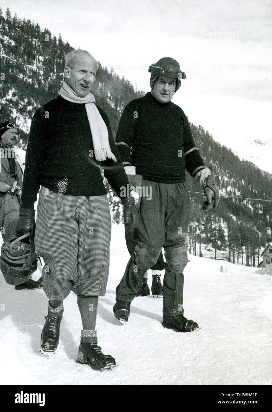JOHN MOORE-BRABAZON at right and Jimmie Coats Captain of the British Olympic Team at the Cresta Run - Stock Image