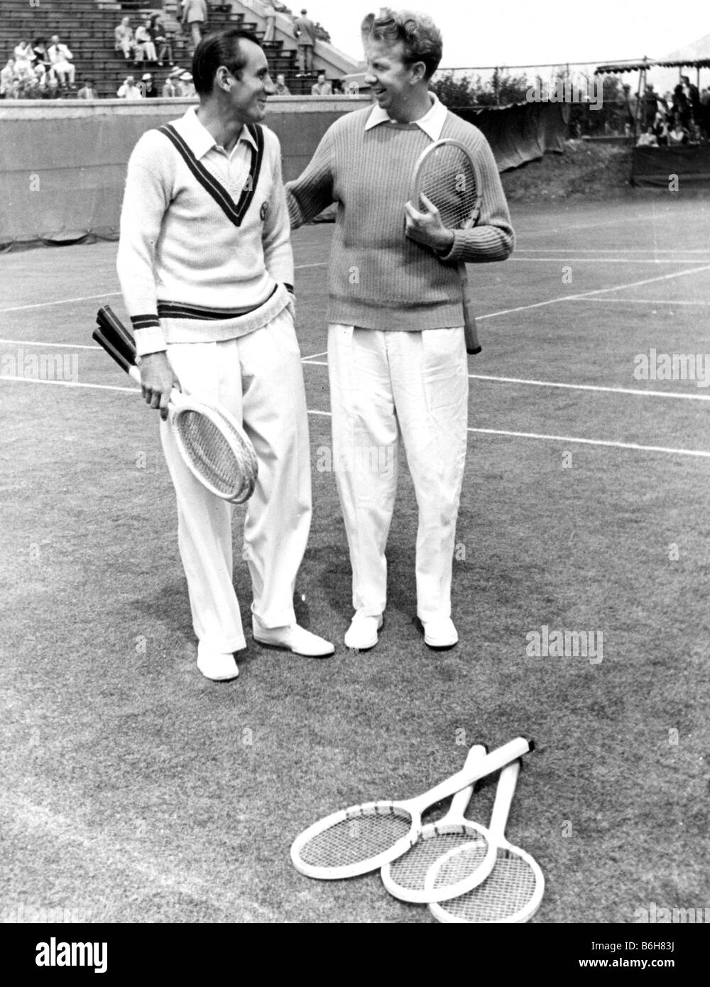 FRED PERRY at left and Donald Budge - tennis players - Stock Image