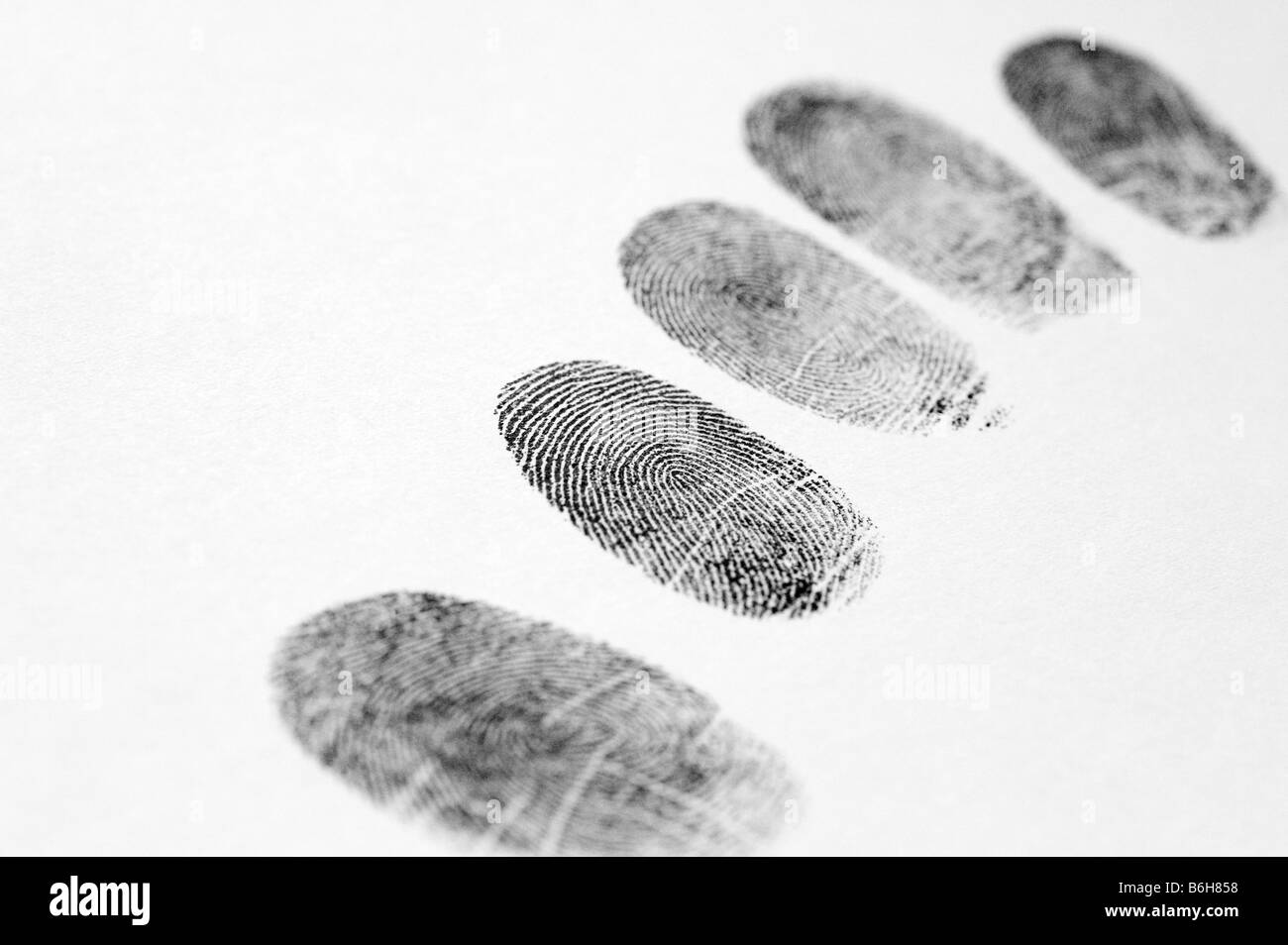 Fingerprints with a white background and shallow depth of field - Stock Image