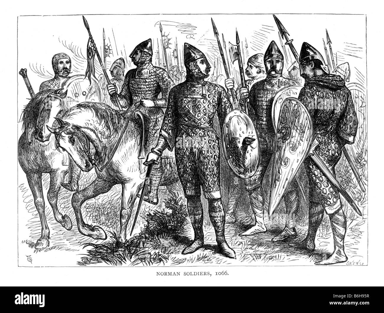 1066 Stock Photos Images Alamy Battle Story Hastings Norman Soldiers Of 19th Century Illustration Image