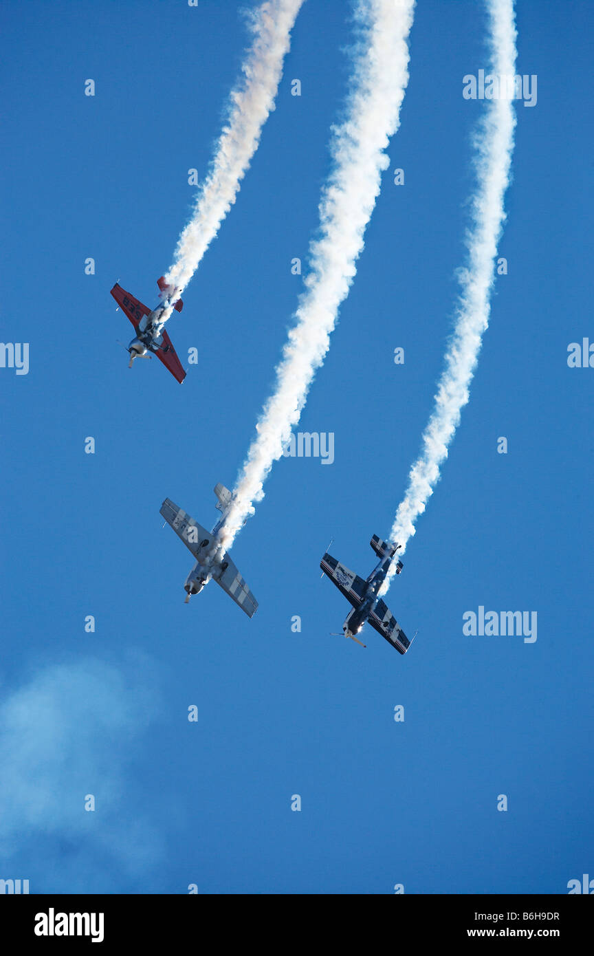Air Bandits Jurgis Kairys Lithuania in his Juka Yoshi Muroya Japan in a Yak 50 and Rob Fry NZ in a Sukhoi 29 - Stock Image