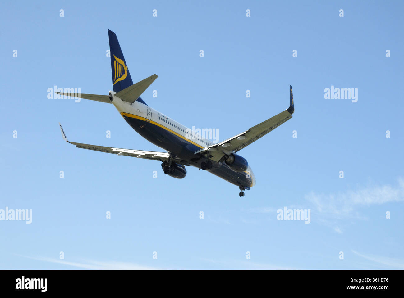 Ryanair  jet on approach to airport - Stock Image