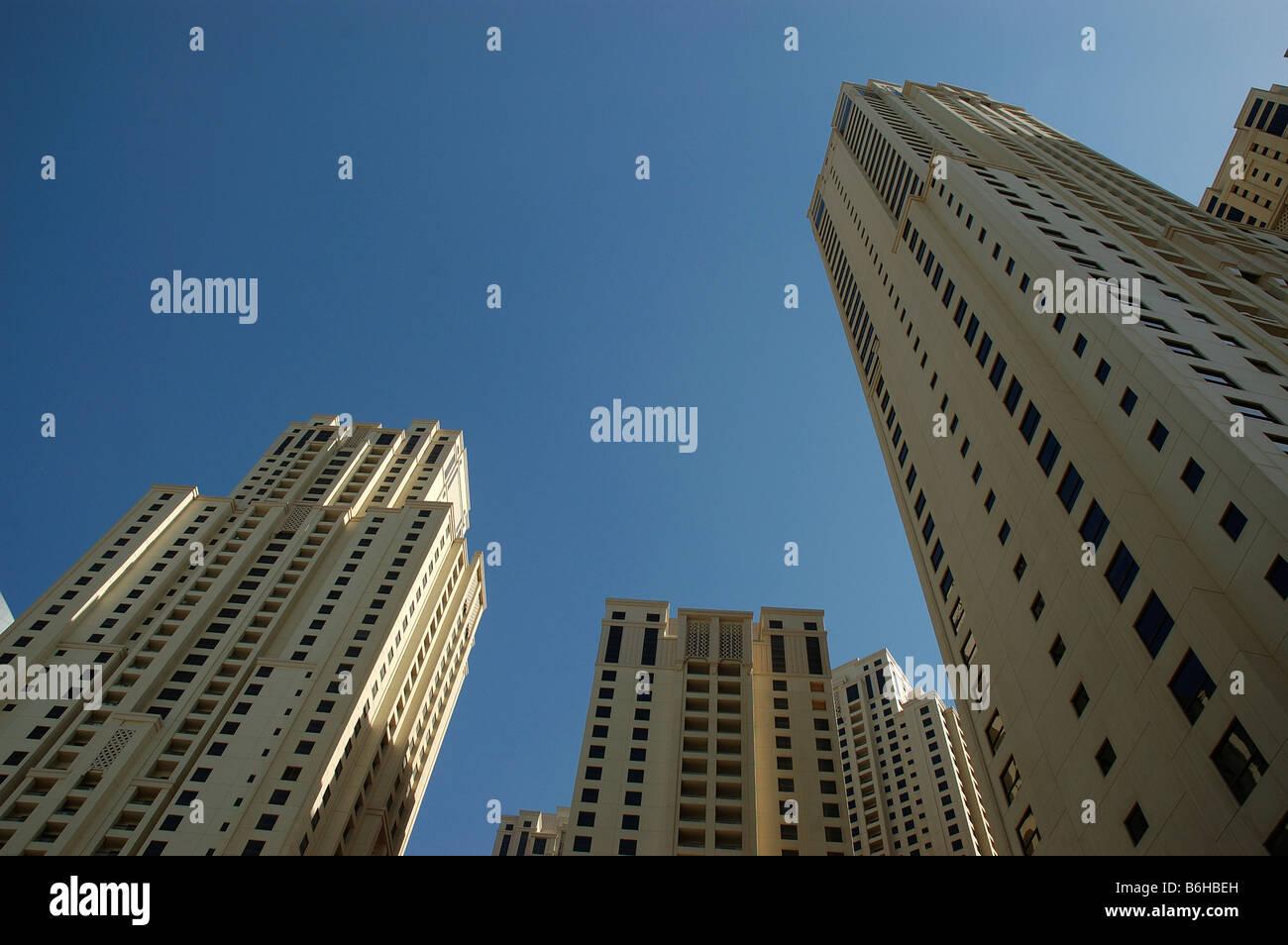 Sky scrapers; The Walk; Jumeirah ;Dubai;United Arab Emirates; Arabian Gulf; Middle East - Stock Image