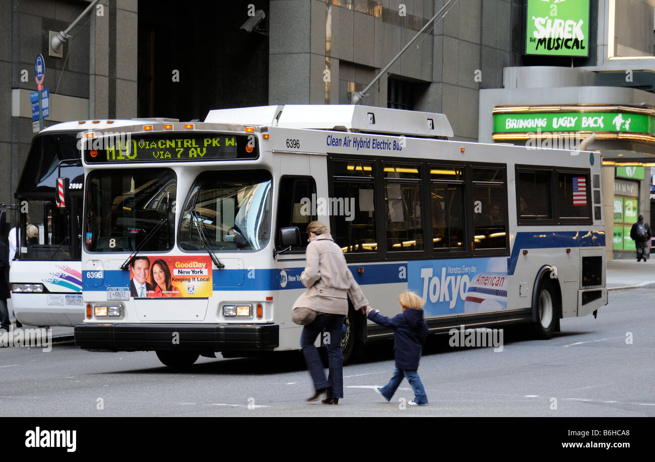 A clean air hybrid electirc bus on Broadway New York USA - Stock Image