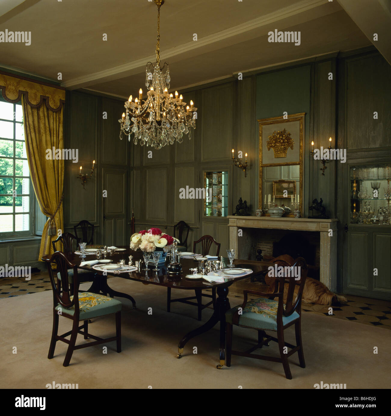 Antique Glass Chandelier In Panelled Green Country Dining Room With Antique  Furniture