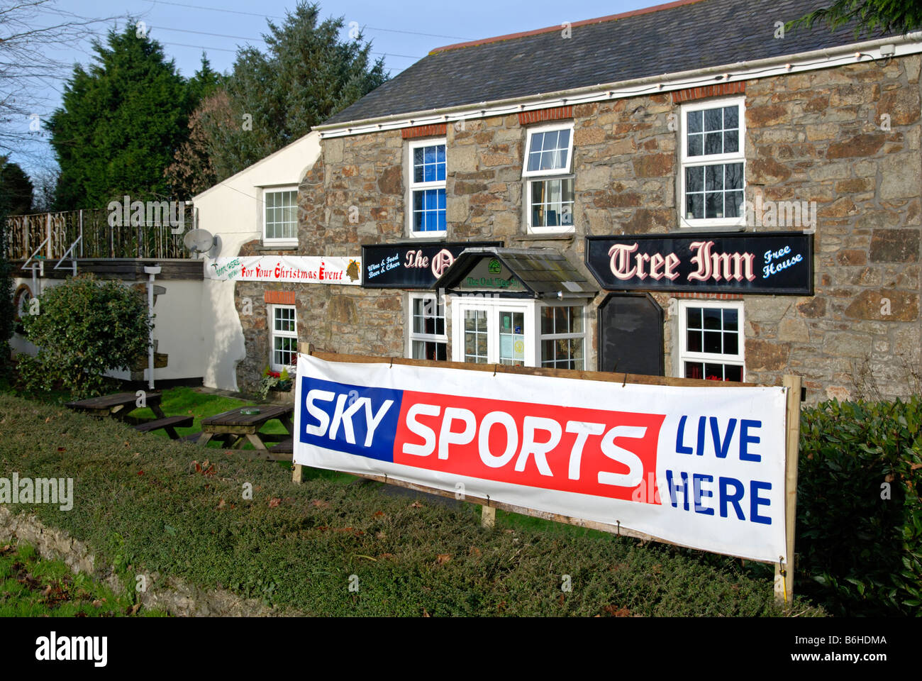 a banner outside a country pub in cornwall,uk advertising 'sky sports' - Stock Image