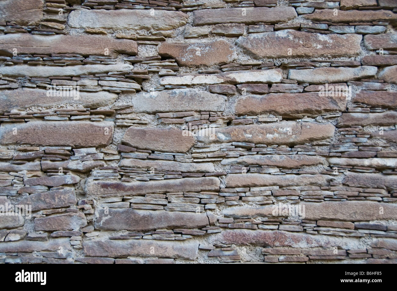 Detail cross section of wall at Chaco Culture National Historical Park New Mexico - Stock Image
