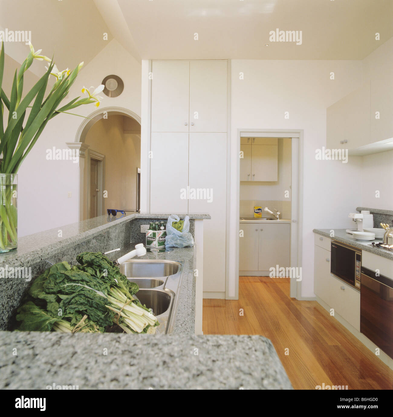 Galley Kitchen Extension: Kitchen Extension Architectural Monochromatic Stock Photos